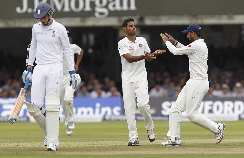 Bhuvneshwar Kumar celebrates one of his six wickets against England at Lord's in 2014 // Getty Images
