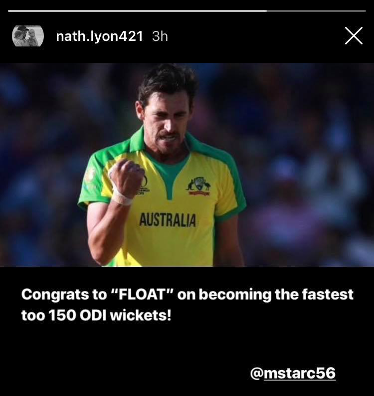 The 'GOAT' adds to the family with a new nickname for Mitchell Starc // @nath.lyon421 on Instagram