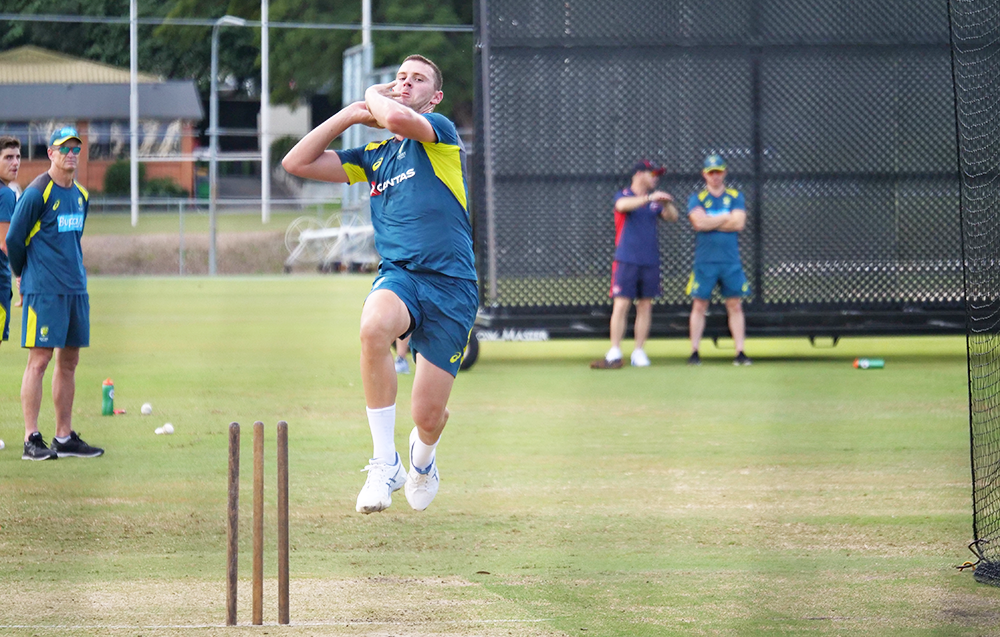 Josh Hazelwood trains with the Duke ball at Australia A's Brisbane camp // Cricket Network