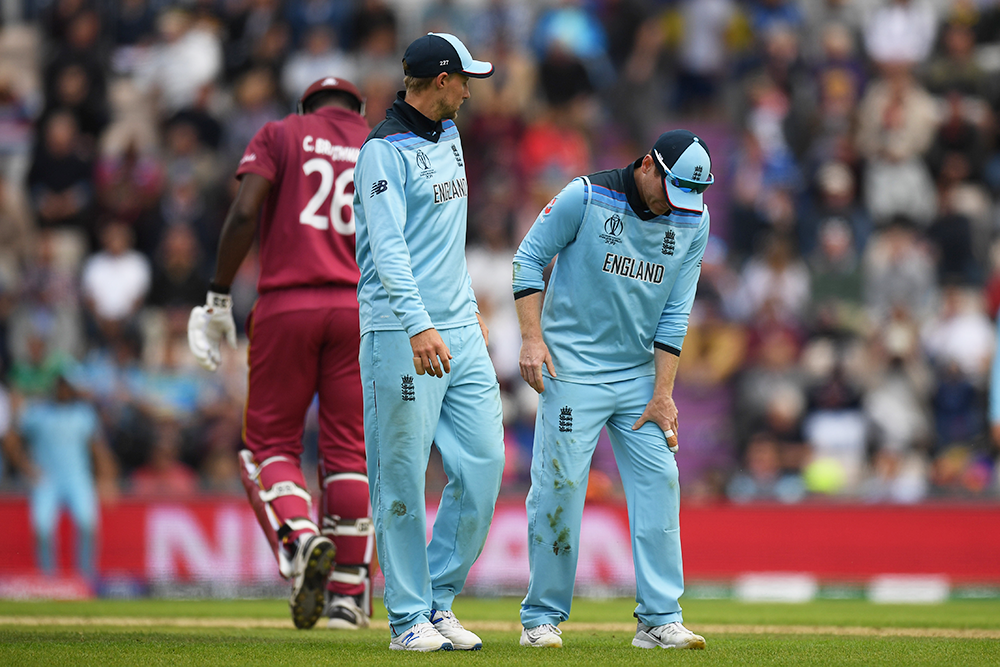 Eoin Morgan departed the field early in England's win over the West Indies // Getty