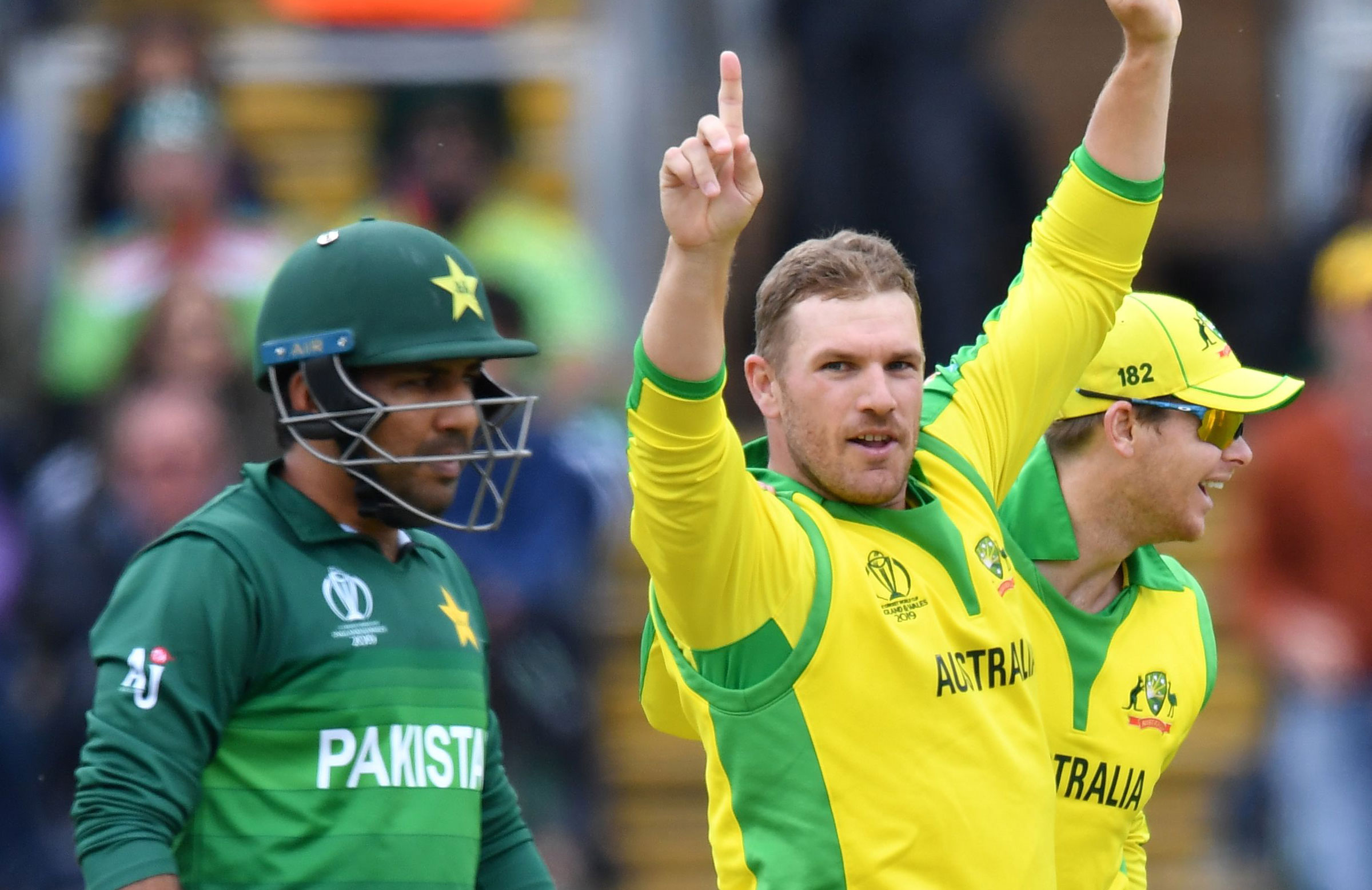 Aaron Finch picked up the wicket of Mohammad Hafeez // Getty