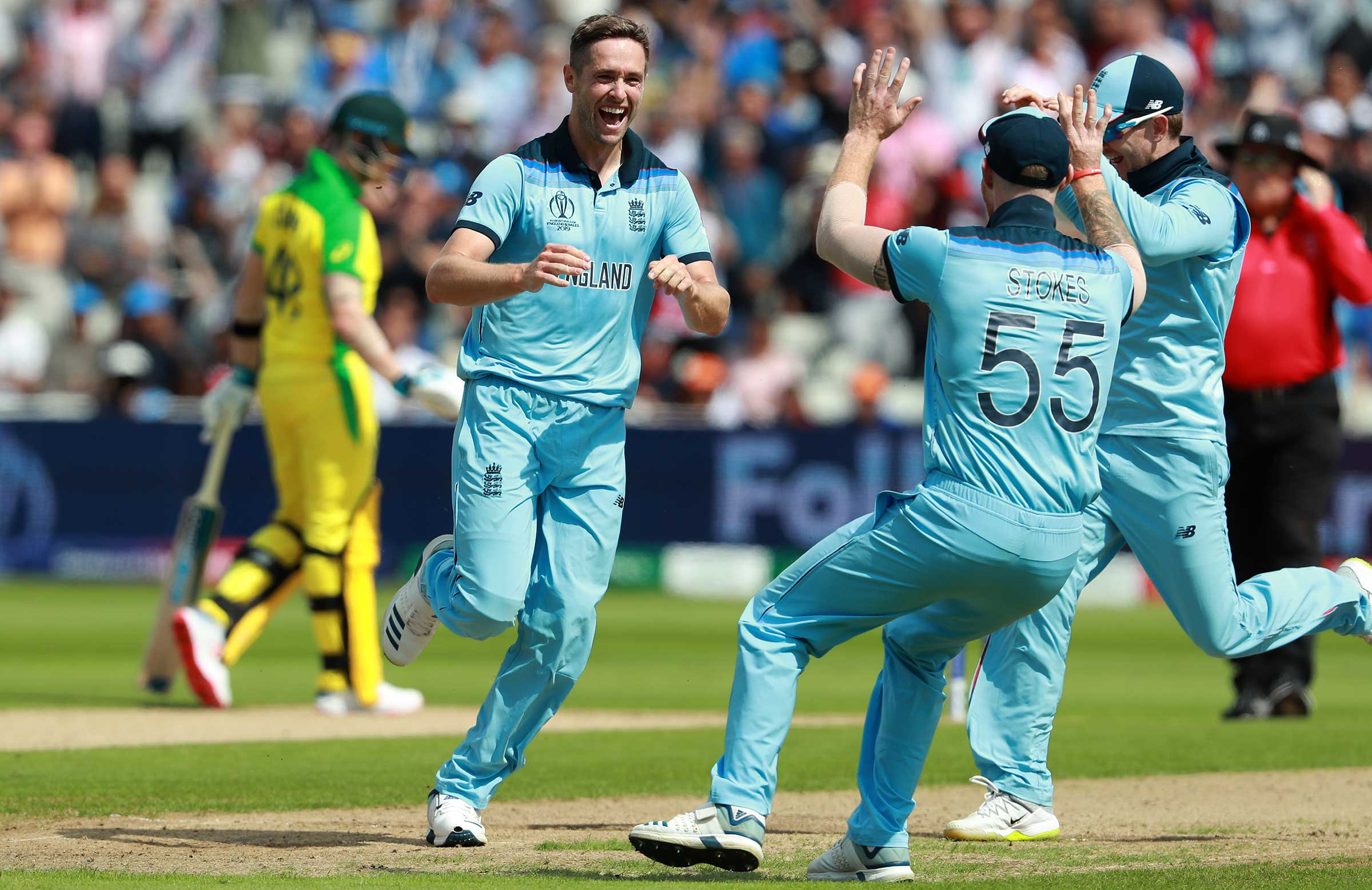 Chris Woakes celebrates an early wicket // Getty