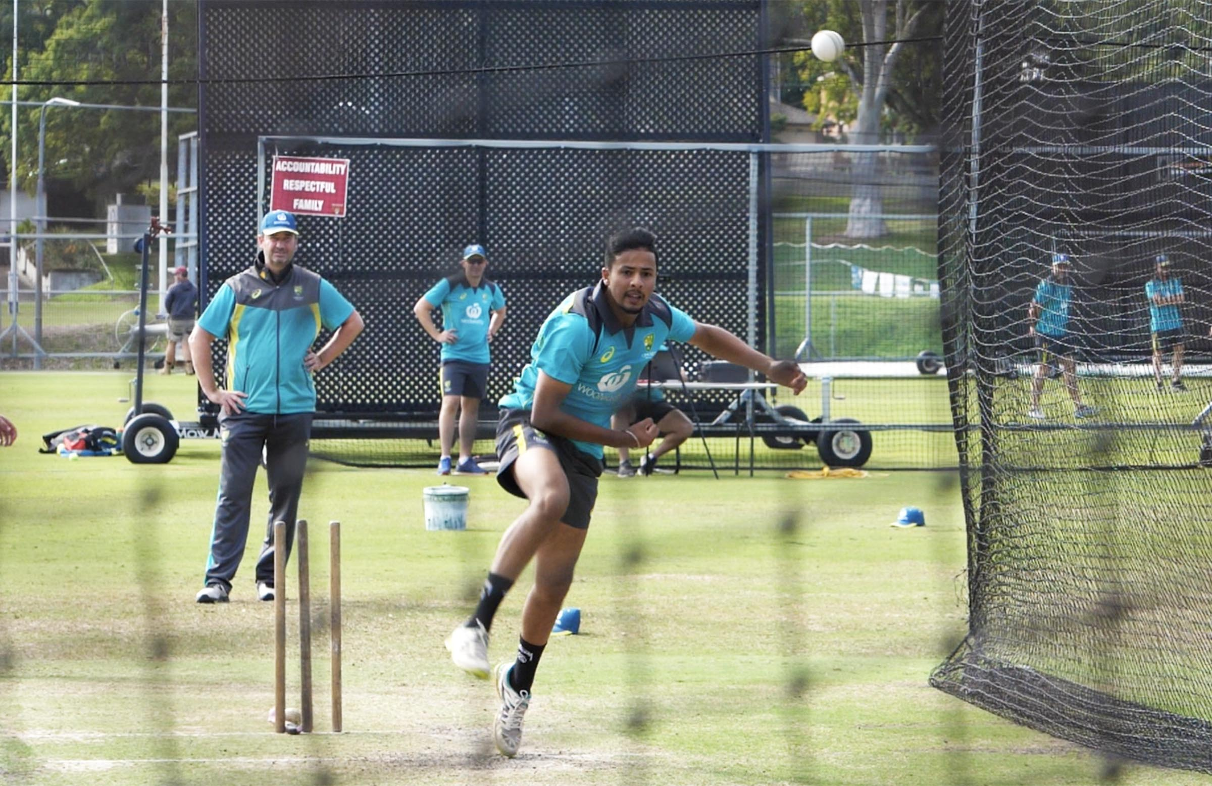 Tanveer rips another leg break at the NCC // cricket.com.au