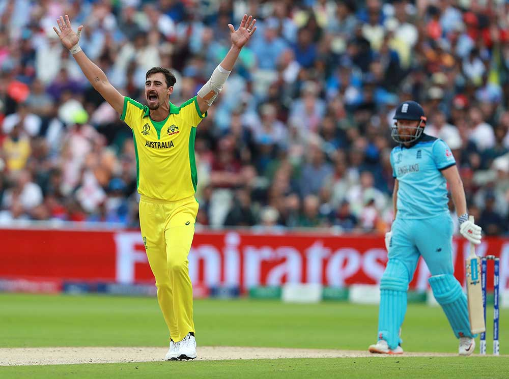 Mitchell Starc claims his 27th wicket of the tournament // Getty