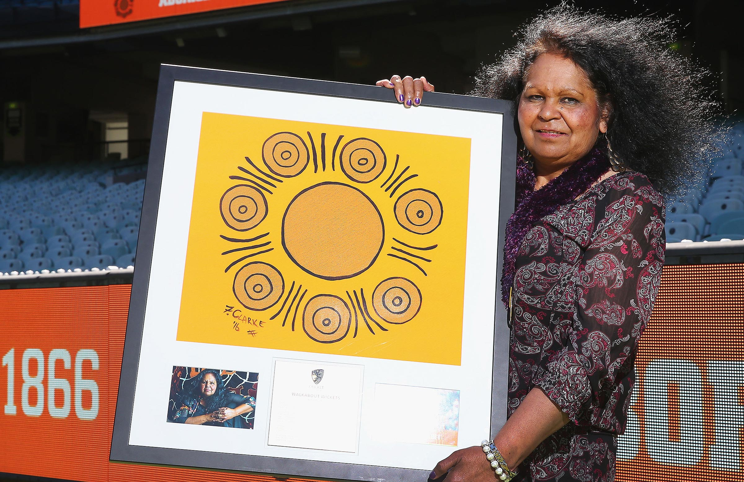 Aunty Fiona Clarke and her Walkabout Wickets artwork // Getty