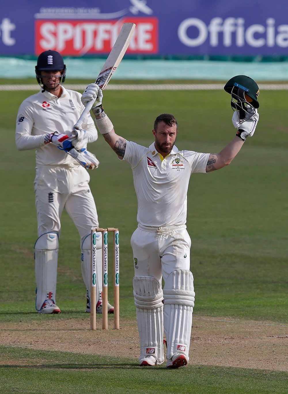 Matthew Wade salutes his century for the Australian XI // Getty