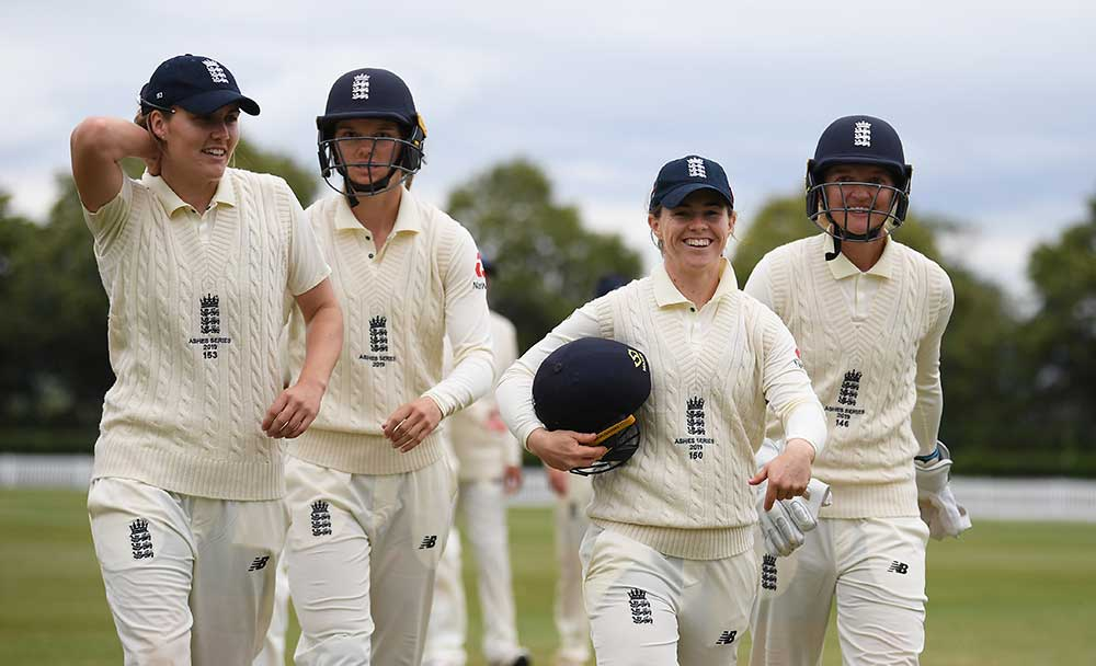 Nat Sciver (left), Amy Jones, Tammy Beaumont and Sarah Taylor enter the Test match in good form // Getty