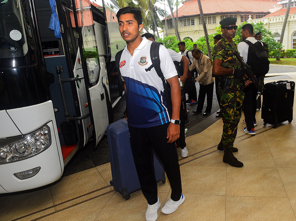 The Bangladesh team arrive to extra security protection at their hotel in Colombo // Getty