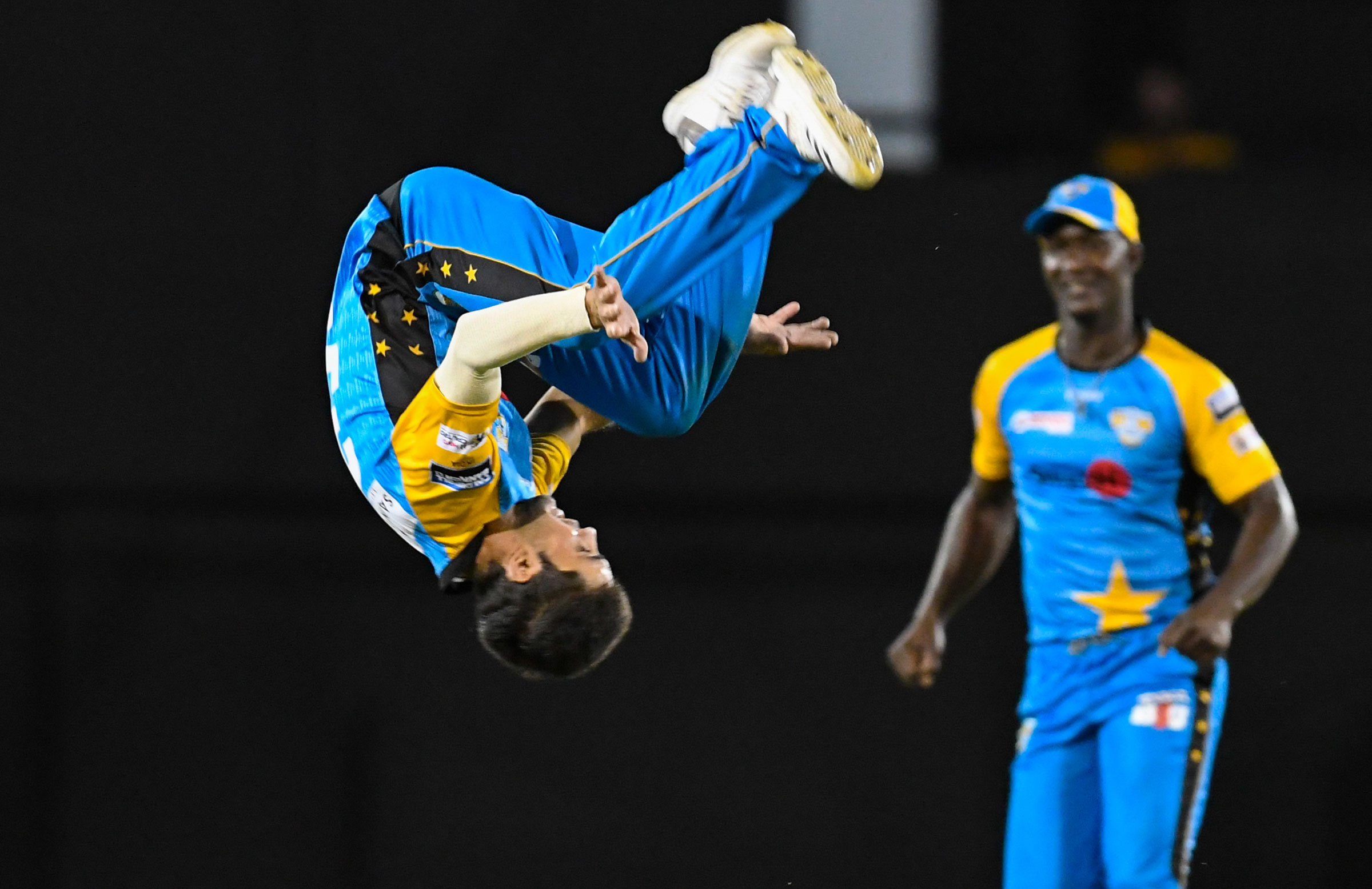 Ahmad celebrates for the St Lucia Stars in the CPL // Getty