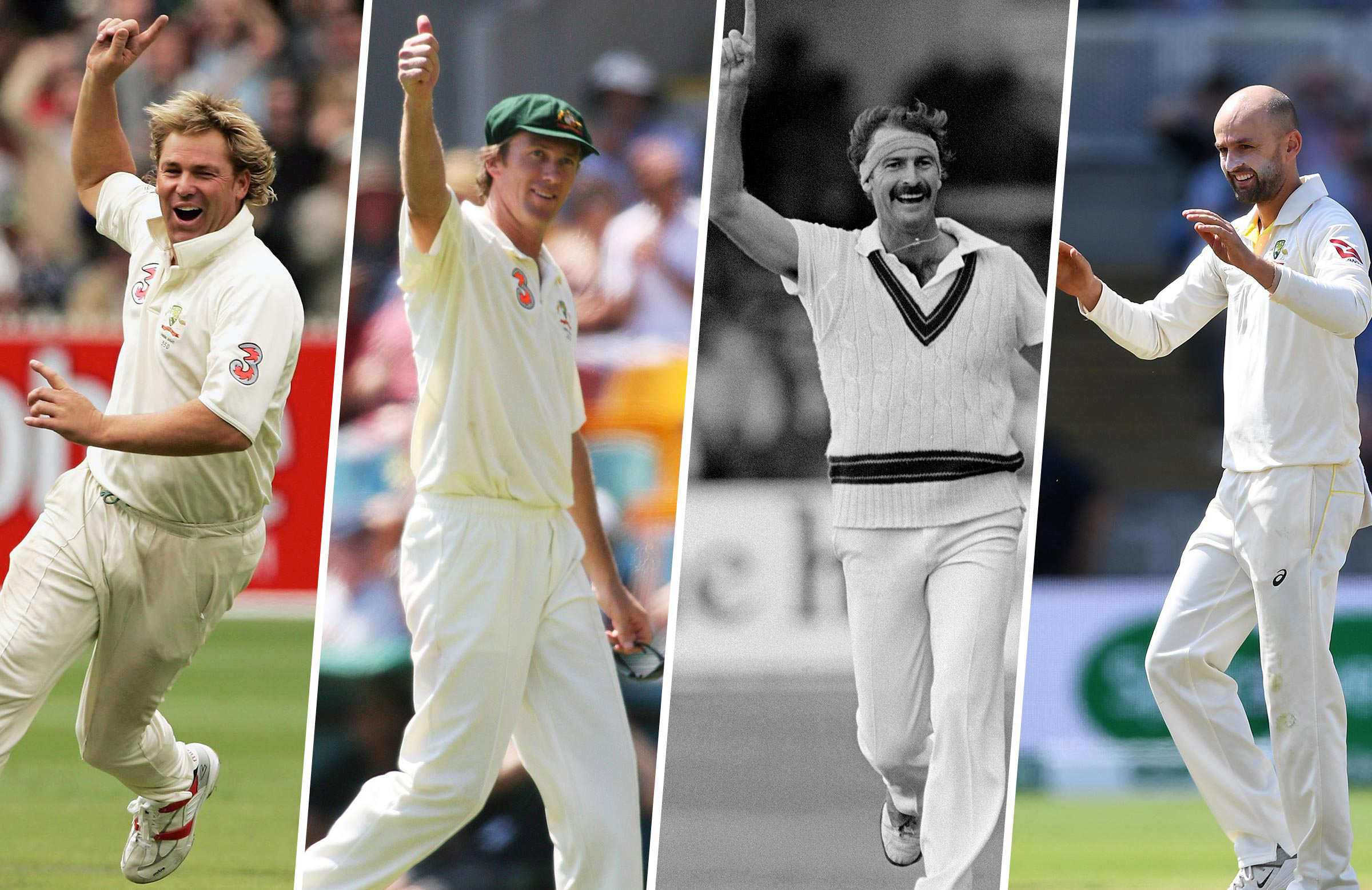 The 350 club (from left): Warne, McGrath, Lillee and Lyon // Getty