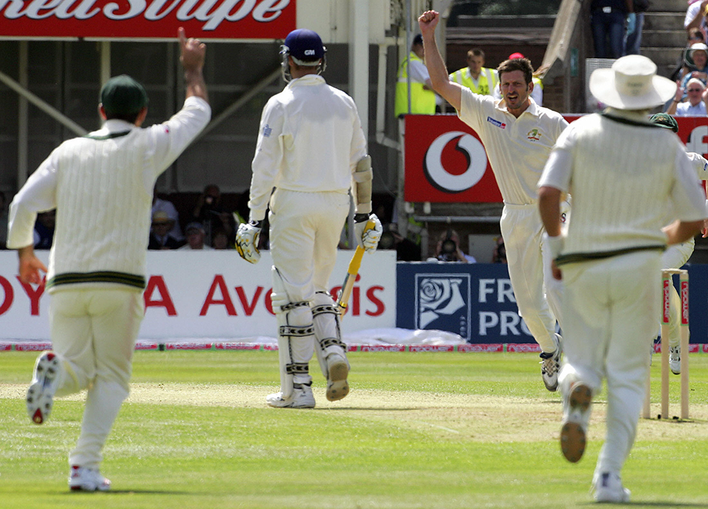 Michael Kasprowicz celebrates an England wicket at Lord's in 2005 // Getty