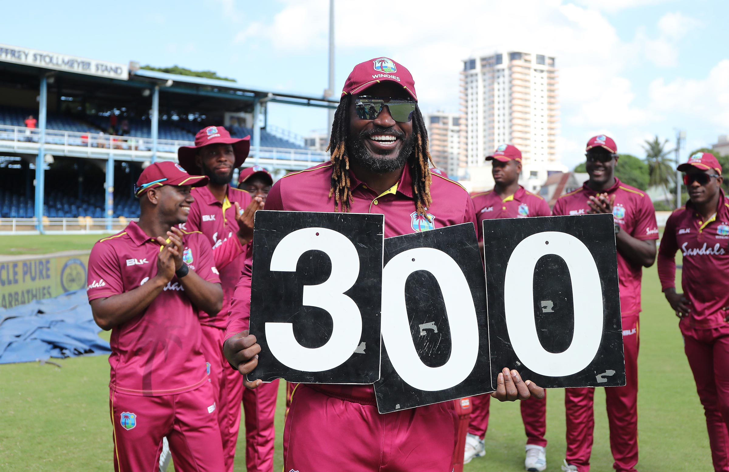 Gayle celebrates his record 300th ODI for the Windies // Getty