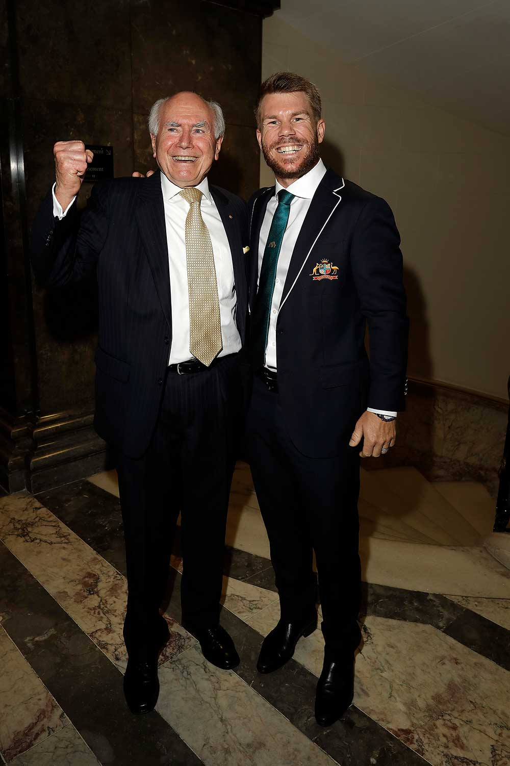 Former PM John Howard and David Warner at a London function for the Australian men's cricket team // Getty
