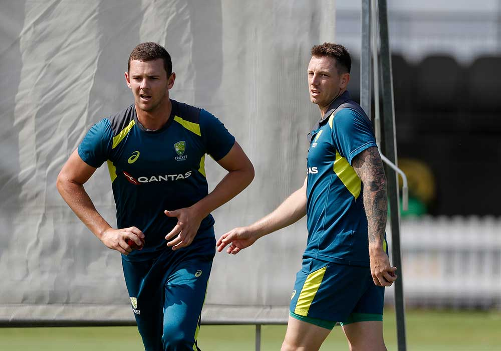 Hazlewood and Pattinson in the nets // Getty