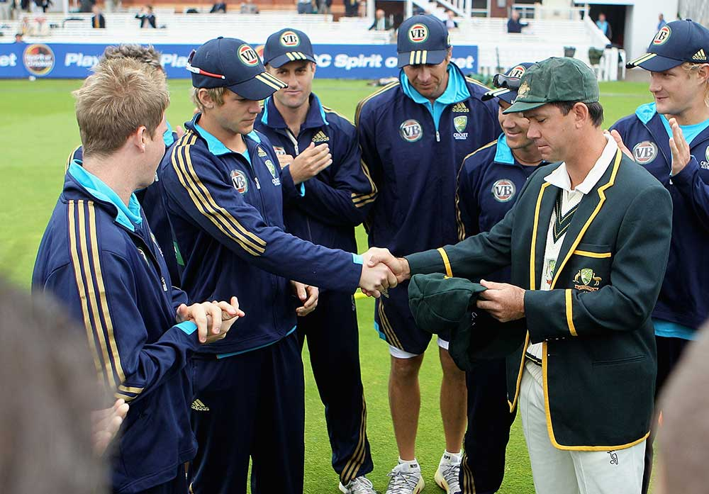Tim Paine receives his Baggy Green // Getty