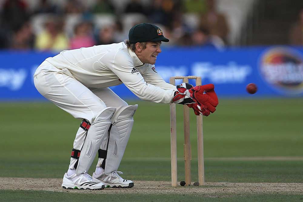 Tim Paine in action on his Test debut in 2010 // Getty