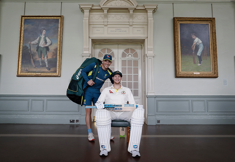 Paine photo-bombs a Steve Smith shoot in the Lord's dining room // Getty