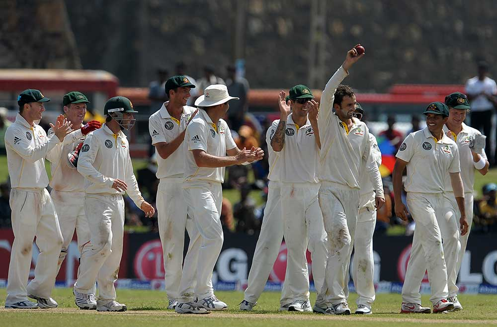 Lyon claimed 5-34 in his debut Test innings // AFP