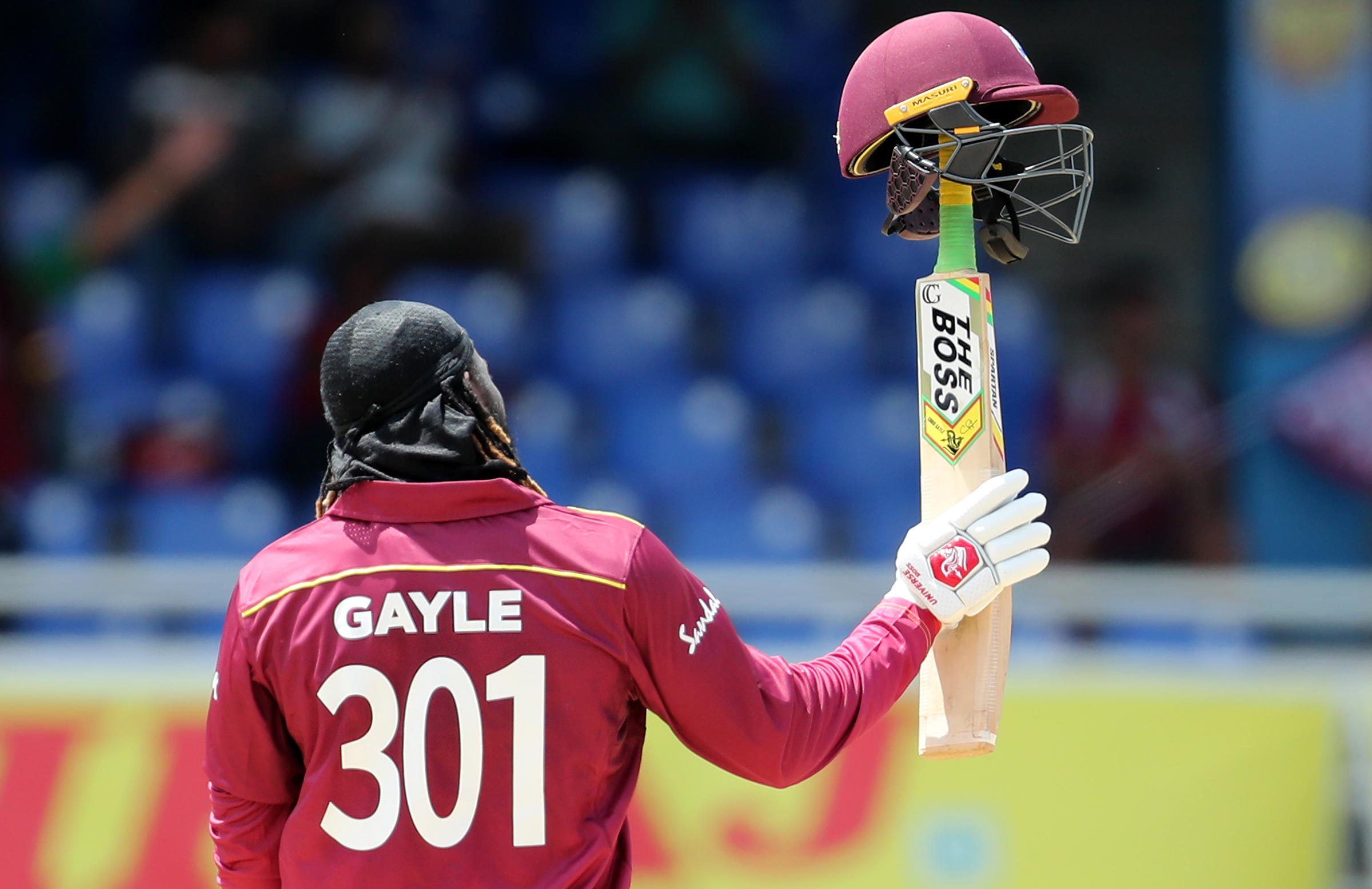 Gayle acknowledges the crowd in Trinidad // Getty