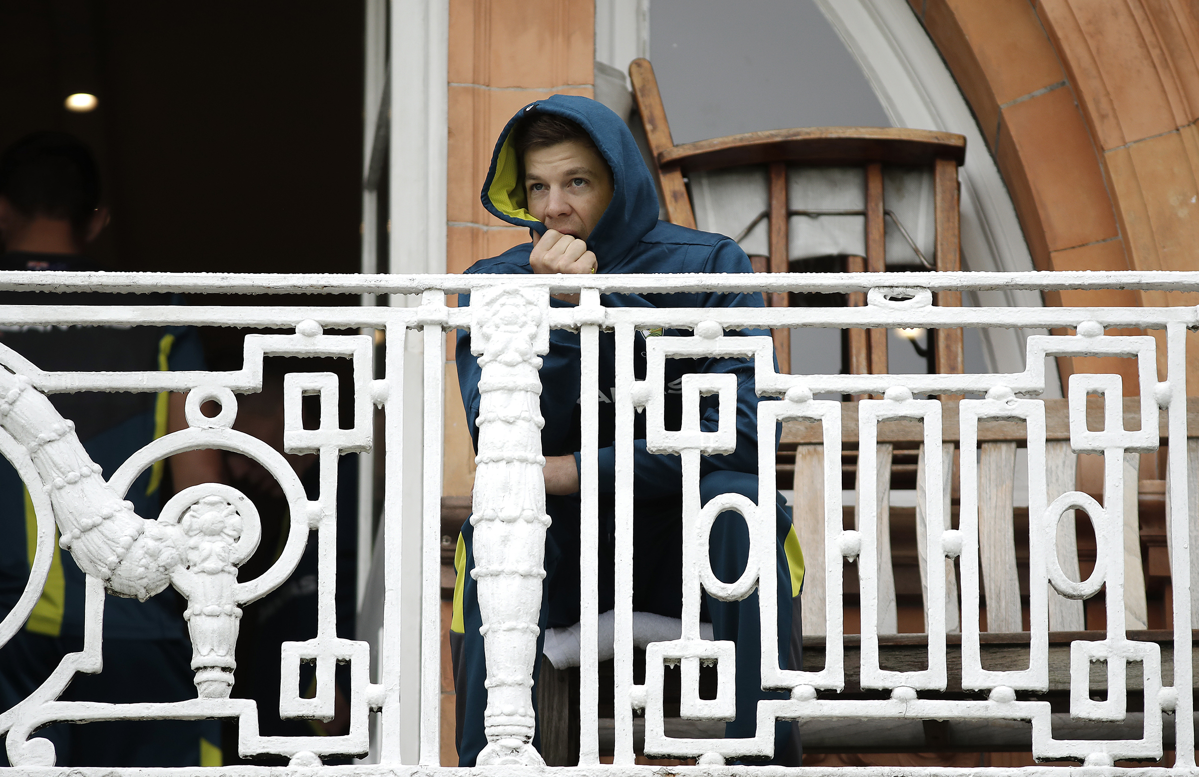 Paine looks on from the Lord's dressing room balcony // Getty