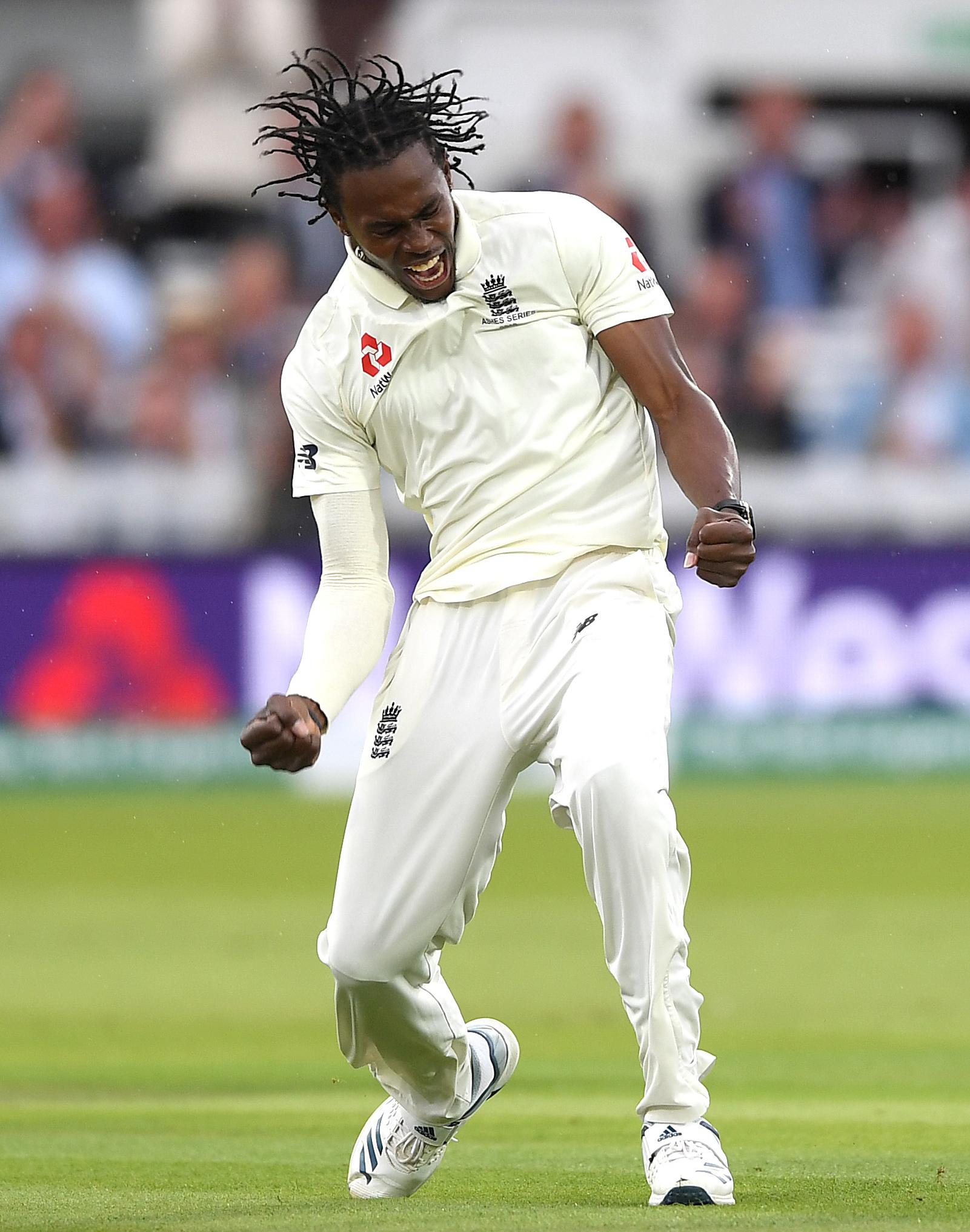 Archer celebrates his maiden Test wicket // Getty