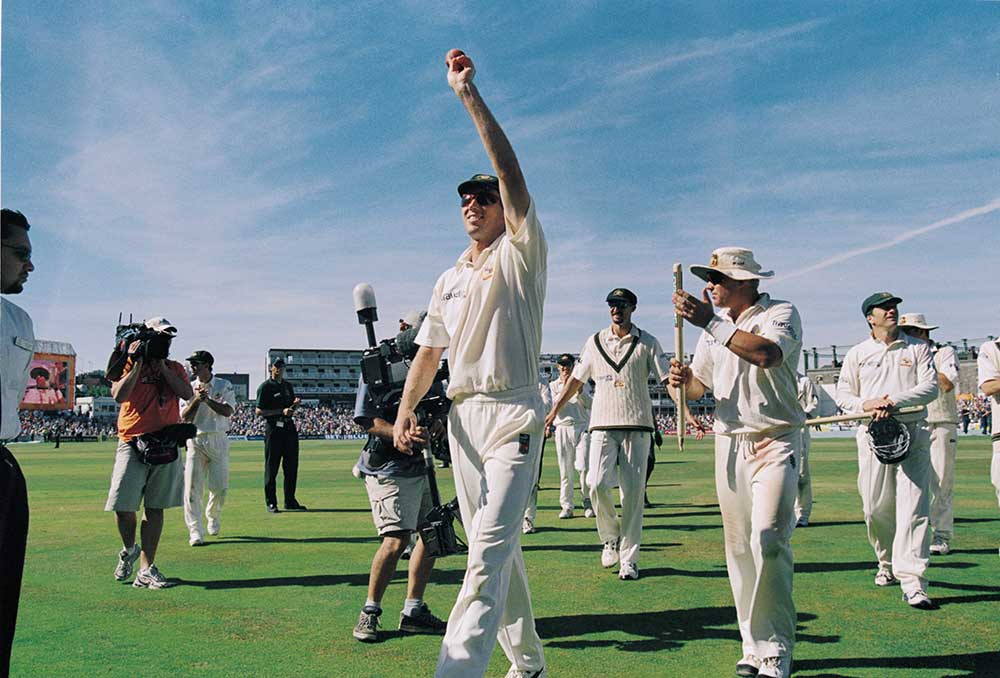 Glenn McGrath salutes his 5-43 at The Oval in 2001 // Getty