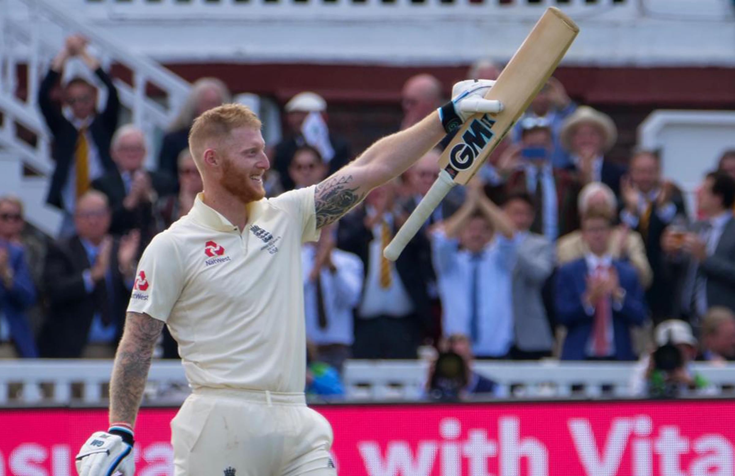 Stokes celebrates his seventh Test ton // Getty