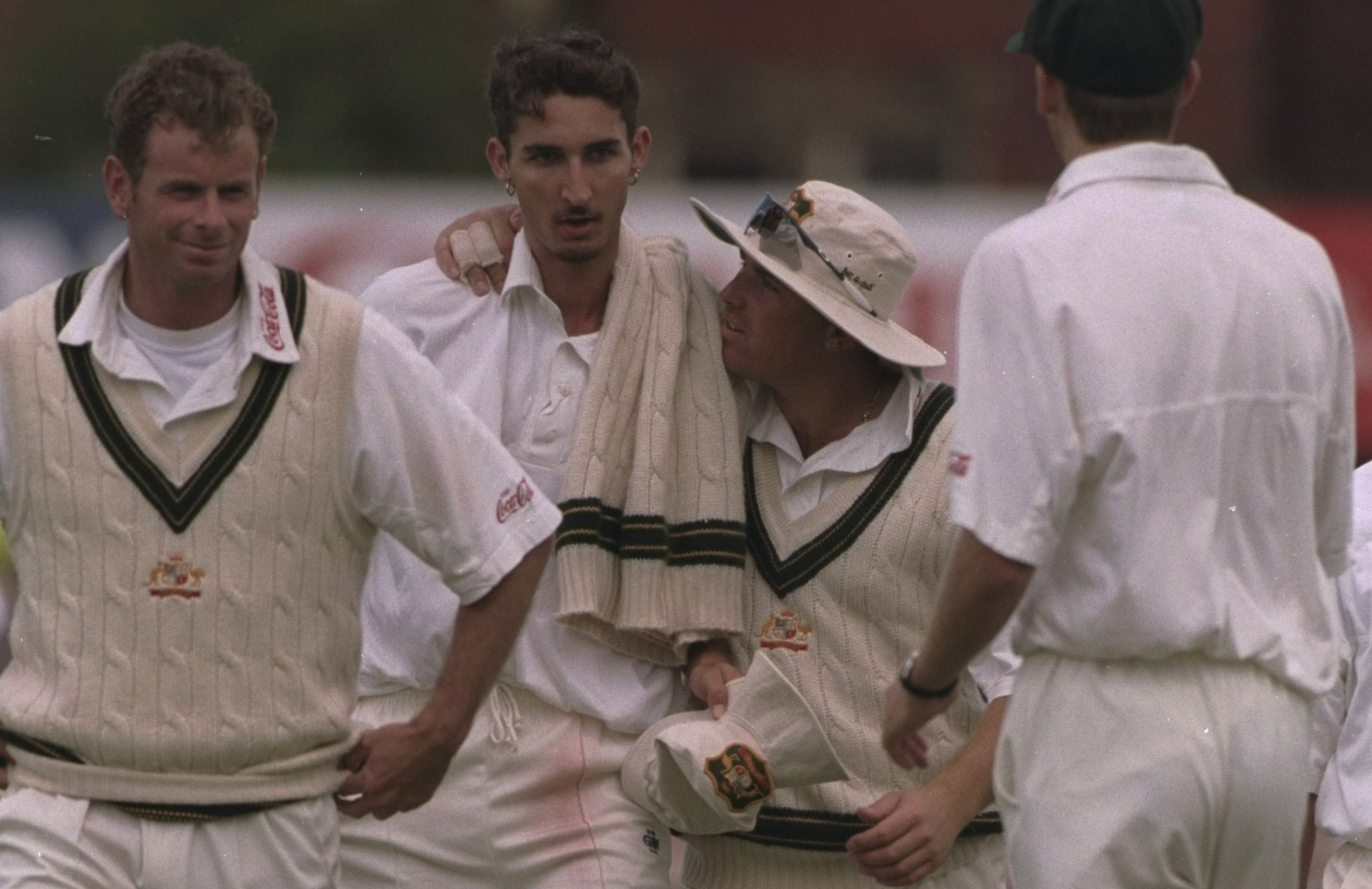 Jason Gillespie is congratulated by teammates // Getty Images