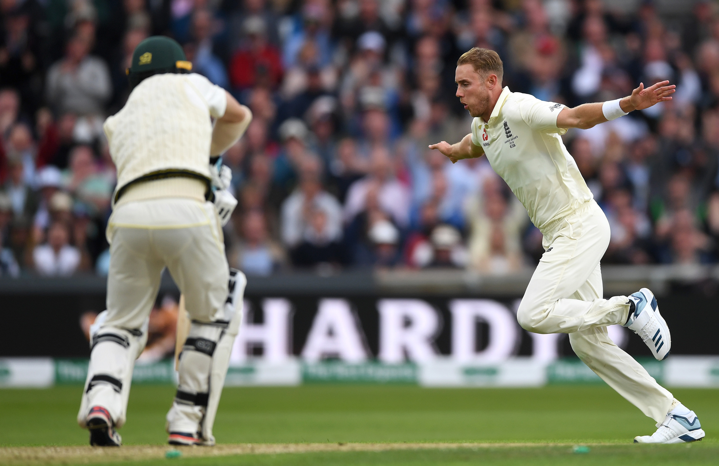 Broad celebrates the wicket of Head // Getty