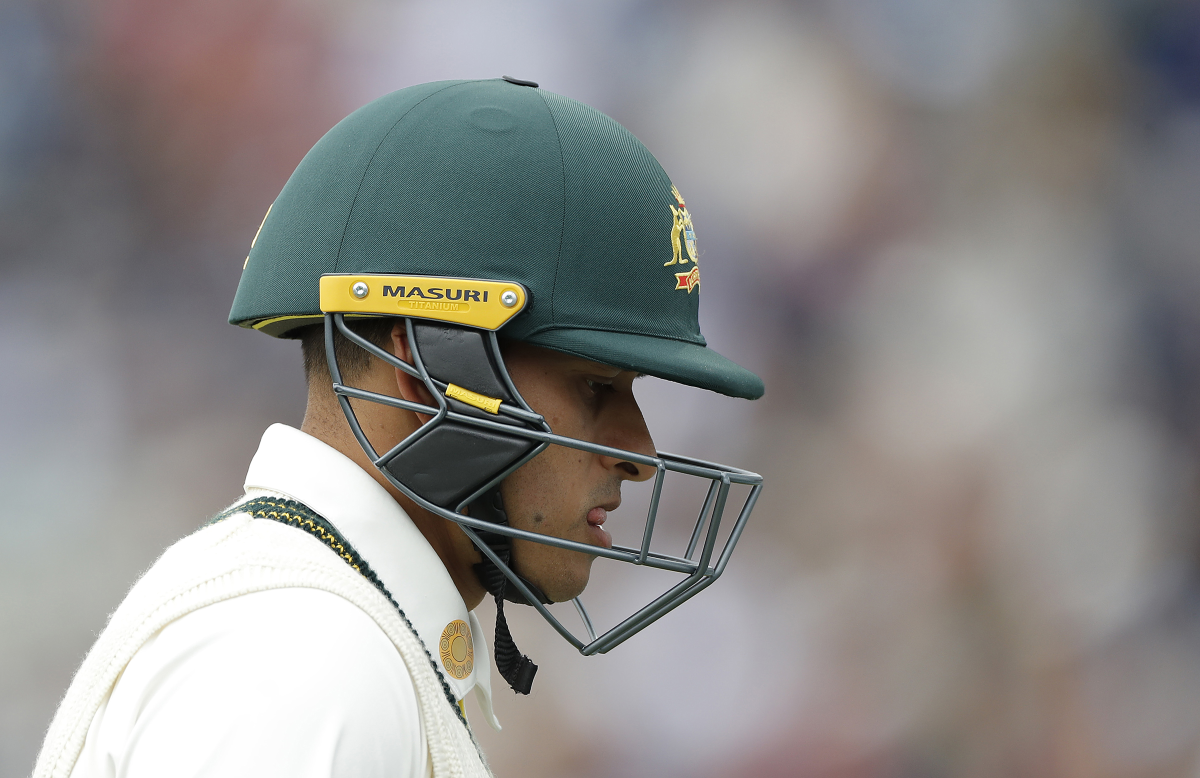 Khawaja was caught down the leg-side off Broad // Getty