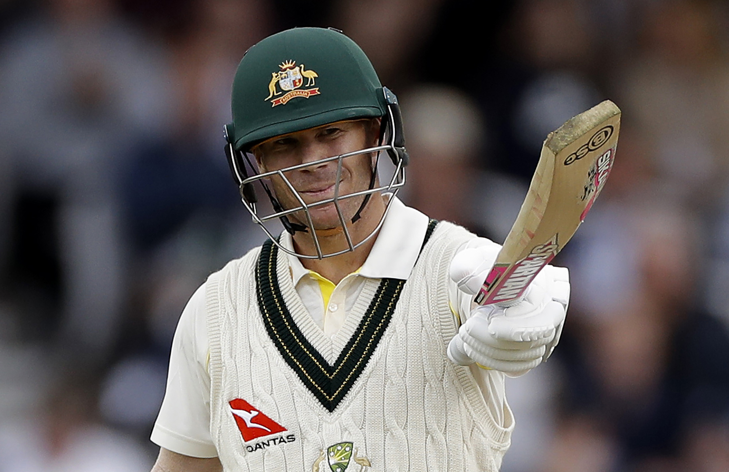 Warner acknowledges his first fifty of the Ashes // Getty