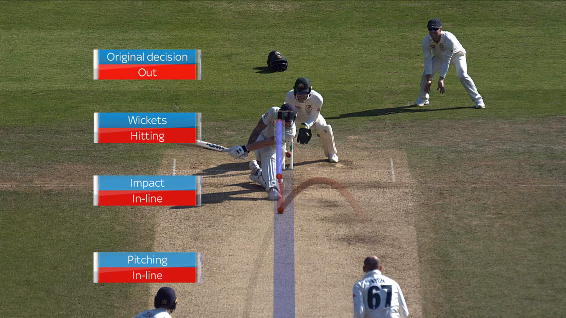 The ball-tracking on the Ben Stokes appeal that was turned down by Umpire Joel Wilson. Australia had no reviews left // Sky Sports