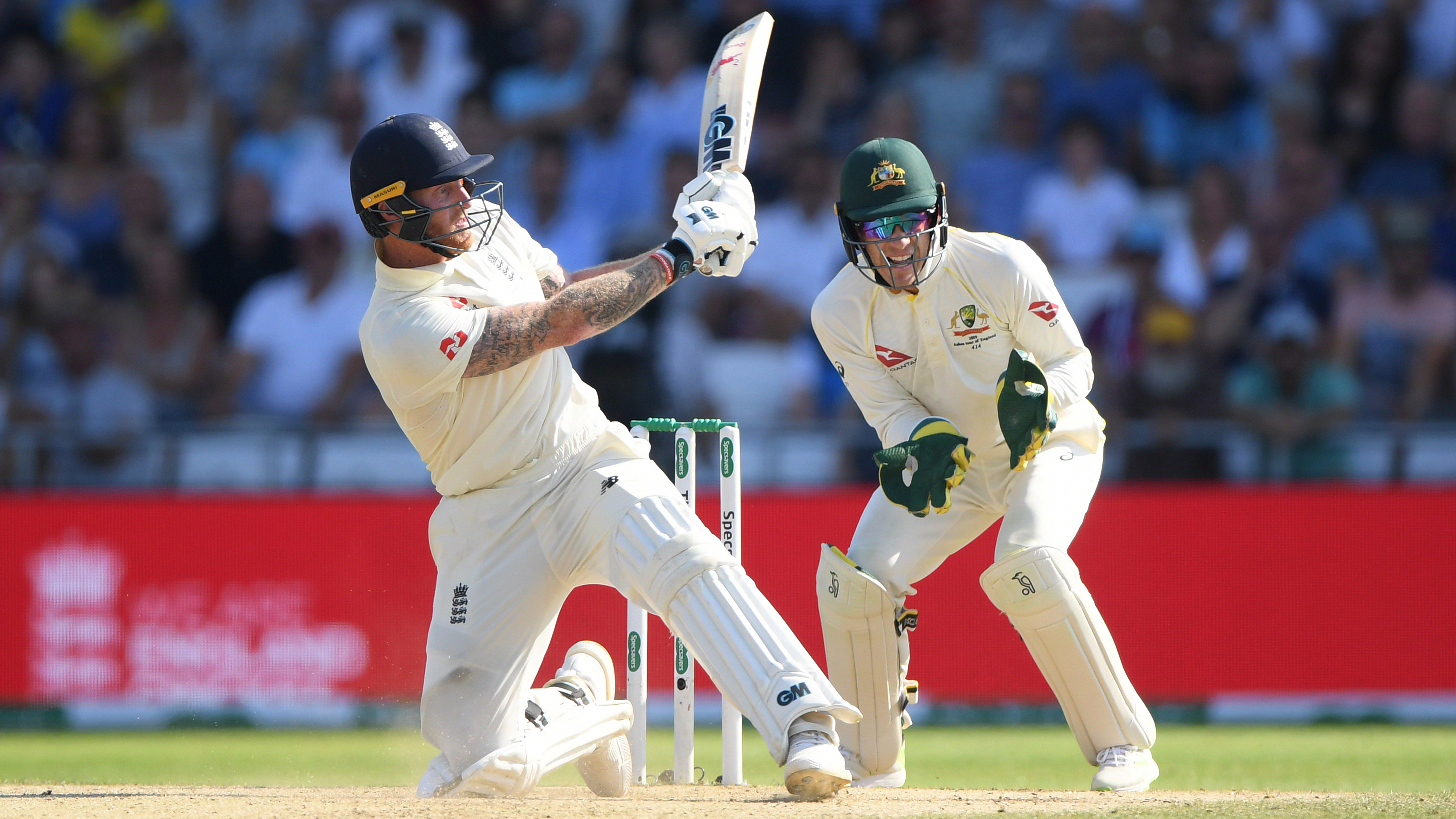 Stokes plays a remarkable switch hit for six // Getty