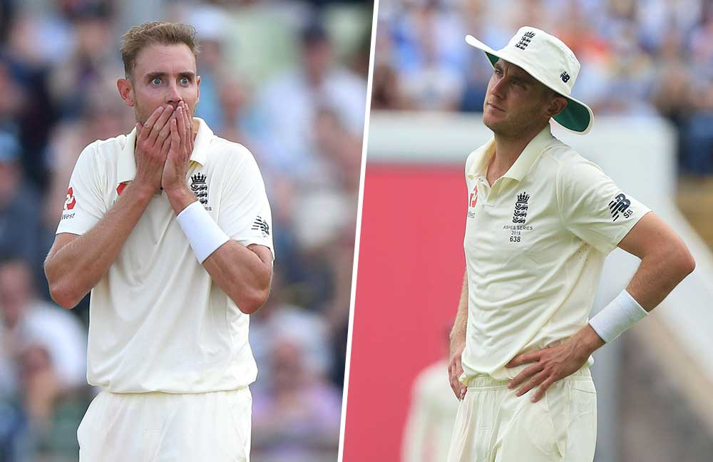 Stuart Broad reacts to Tim Paine's wicket (left) but was left fatigued with Jimmy Anderson absent injured // Getty