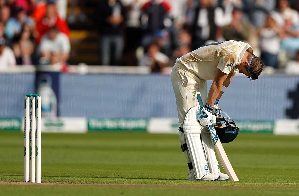 Smith temporarily overcome with emotion on reaching his ton // Getty