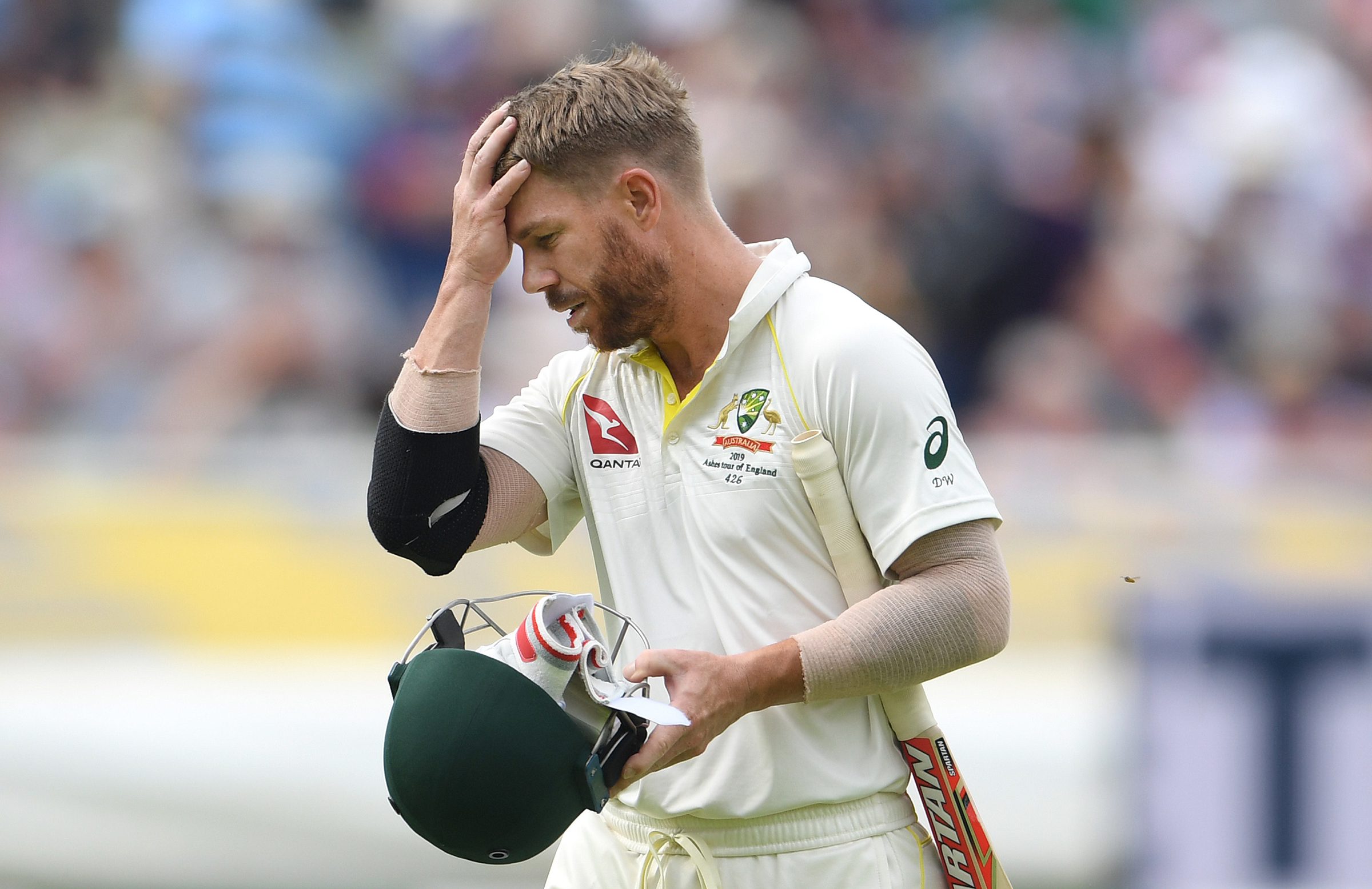 Warner was out to Broad for the second time in the match // Getty