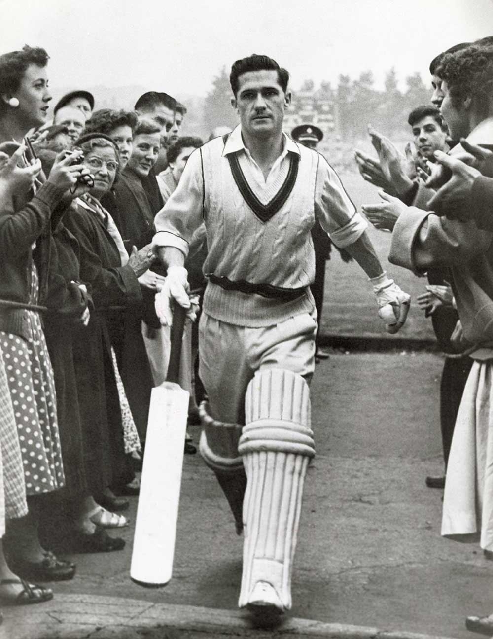 Neil Harvey after hitting a century at Headingley in 1948 // Getty