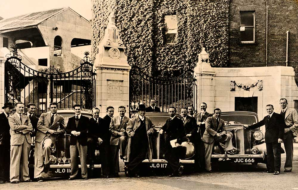 The 1948 'Invincibles' assemble outside the Grace Gates at Lord's // Getty