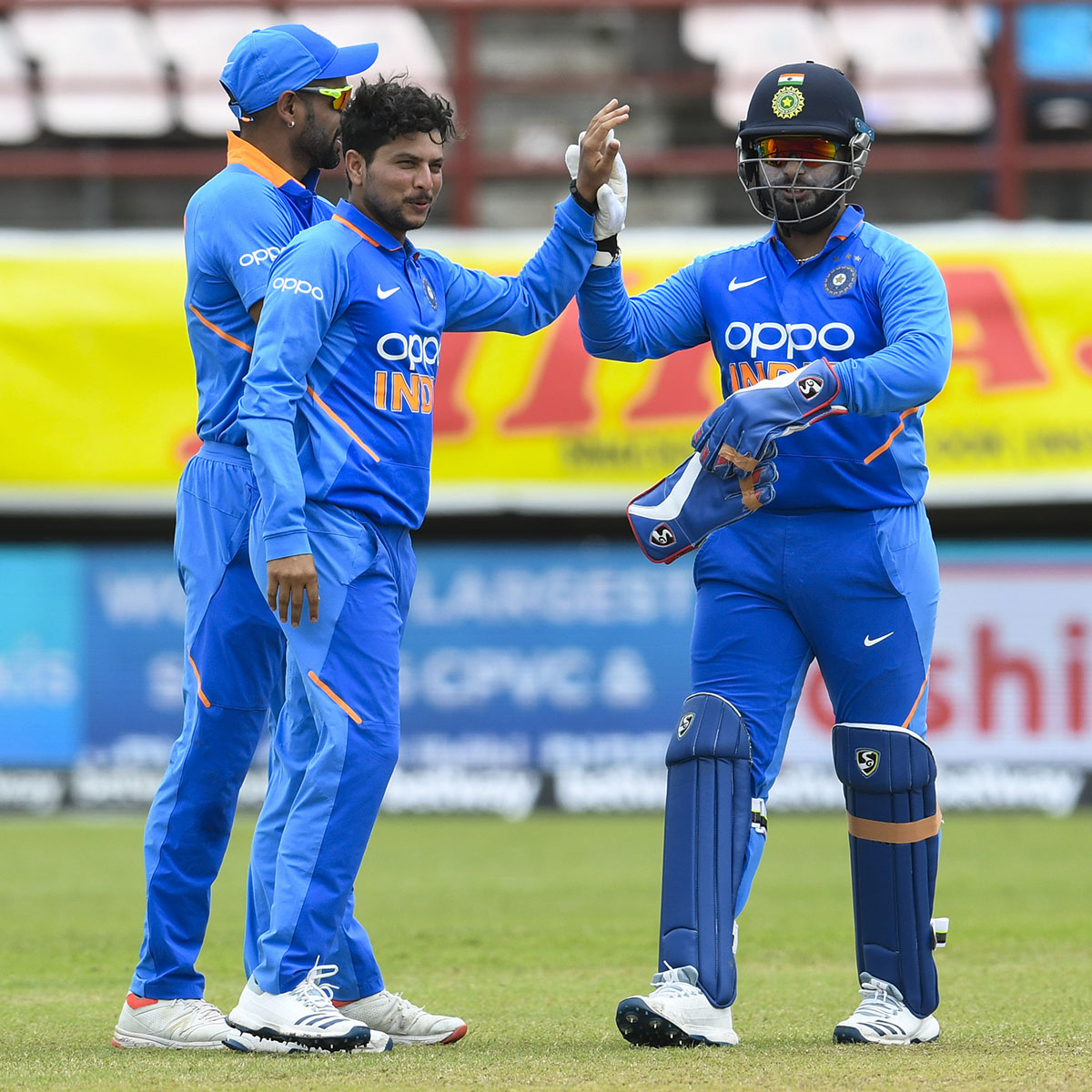Kuldeep Yadav celebrates the only wicket to fall