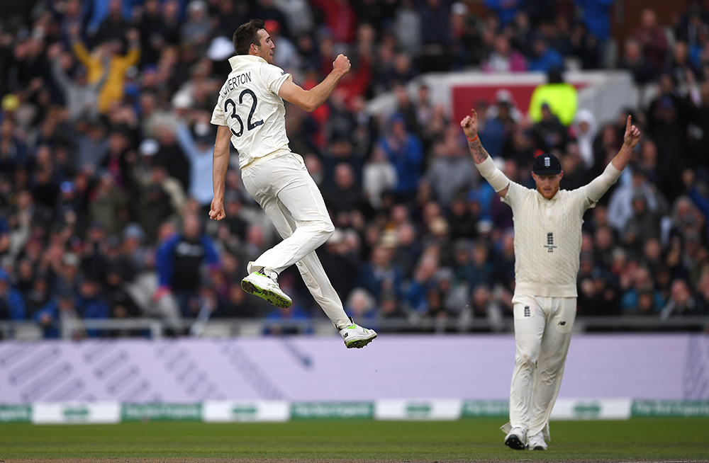 Overton's elation is clear as he celebrates the wicket of Marnus Labuschagne // Getty