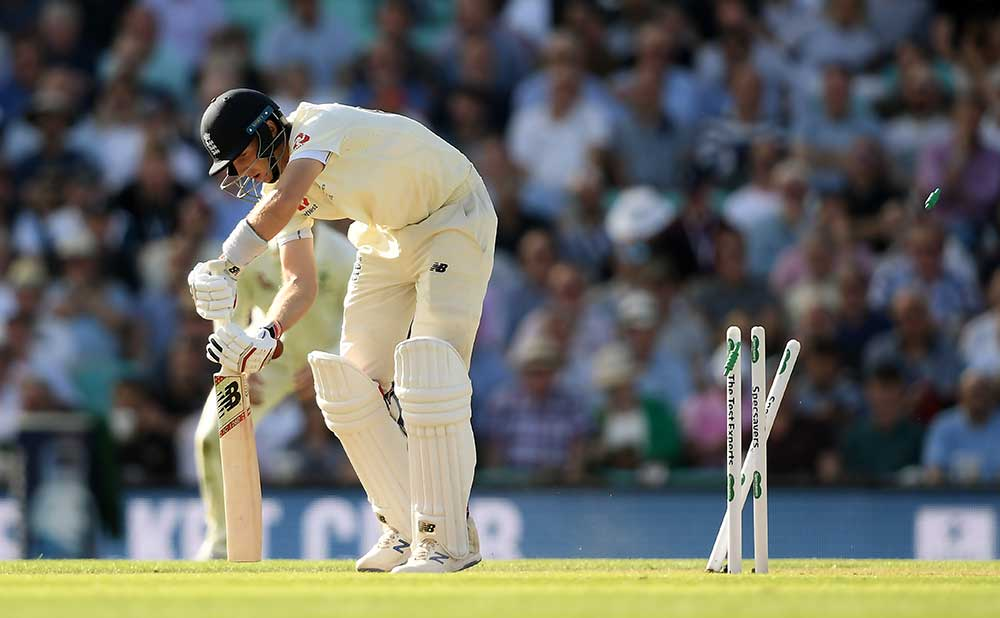 Joe Root has his timber toppled // Getty