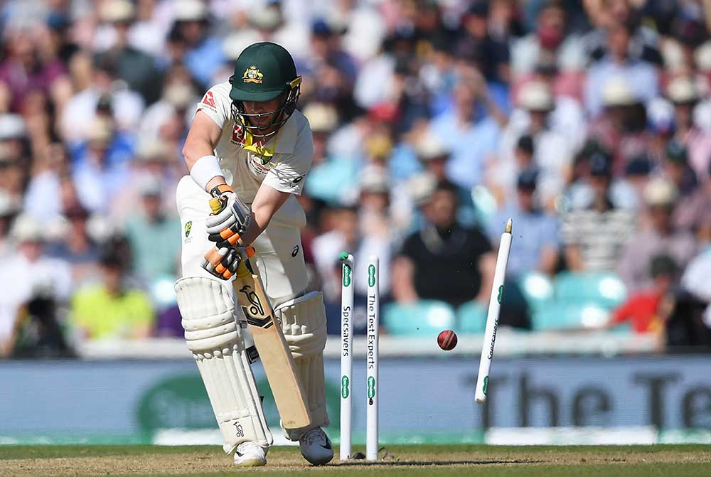 Marcus Harris is bowled by Stuart Broad // Getty