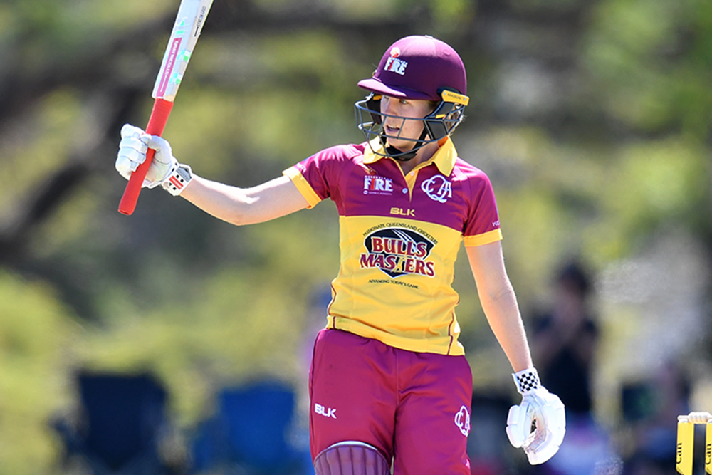 Jemma Barsby celebrates passing fifty in the opening round of the WNCL
