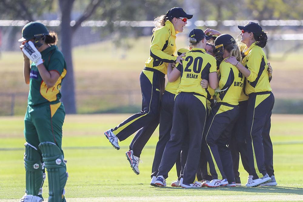 West Australia celebrate a wicket in their win over Tasmania