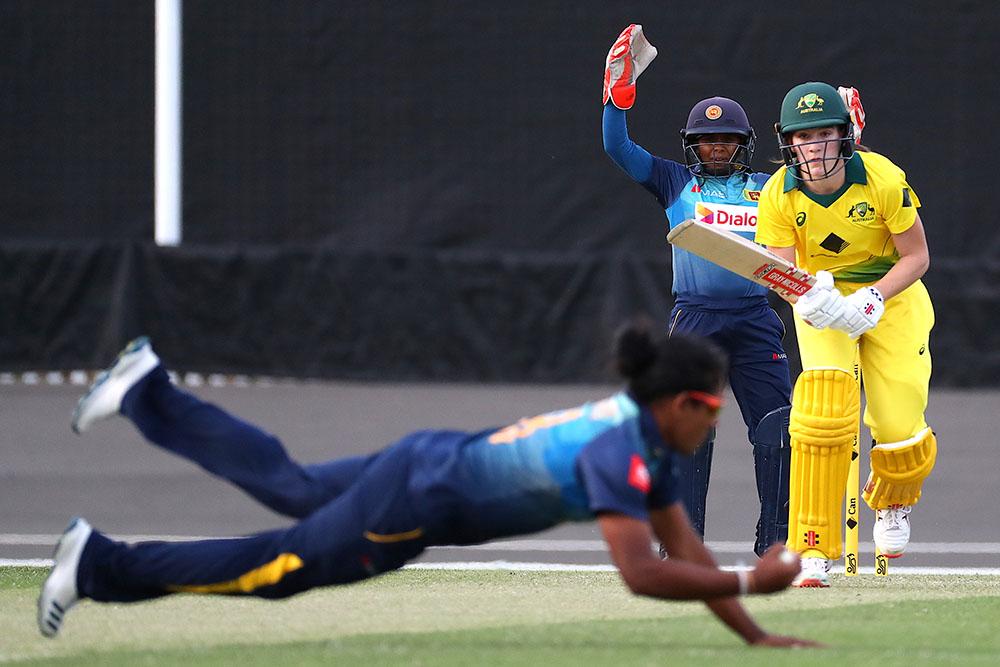 Sri Lanka T20 captain Chamari Atapattu in action against the Cricket Australia XI