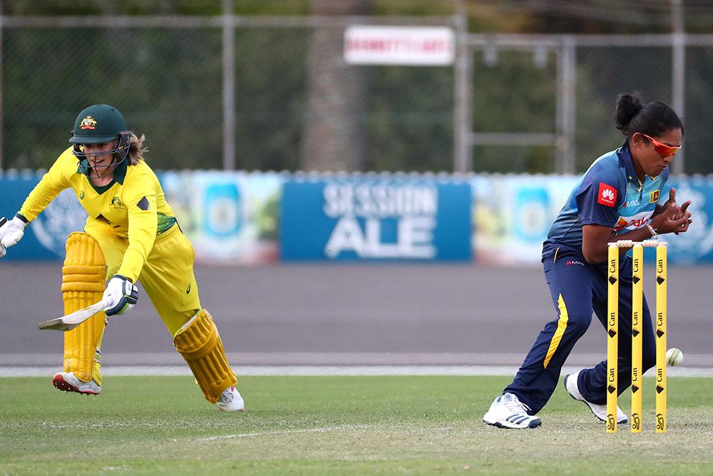 Annabel Sutherland sneaks a run for the Cricket Australia XI against Sri Lanka // AAP/David Gray
