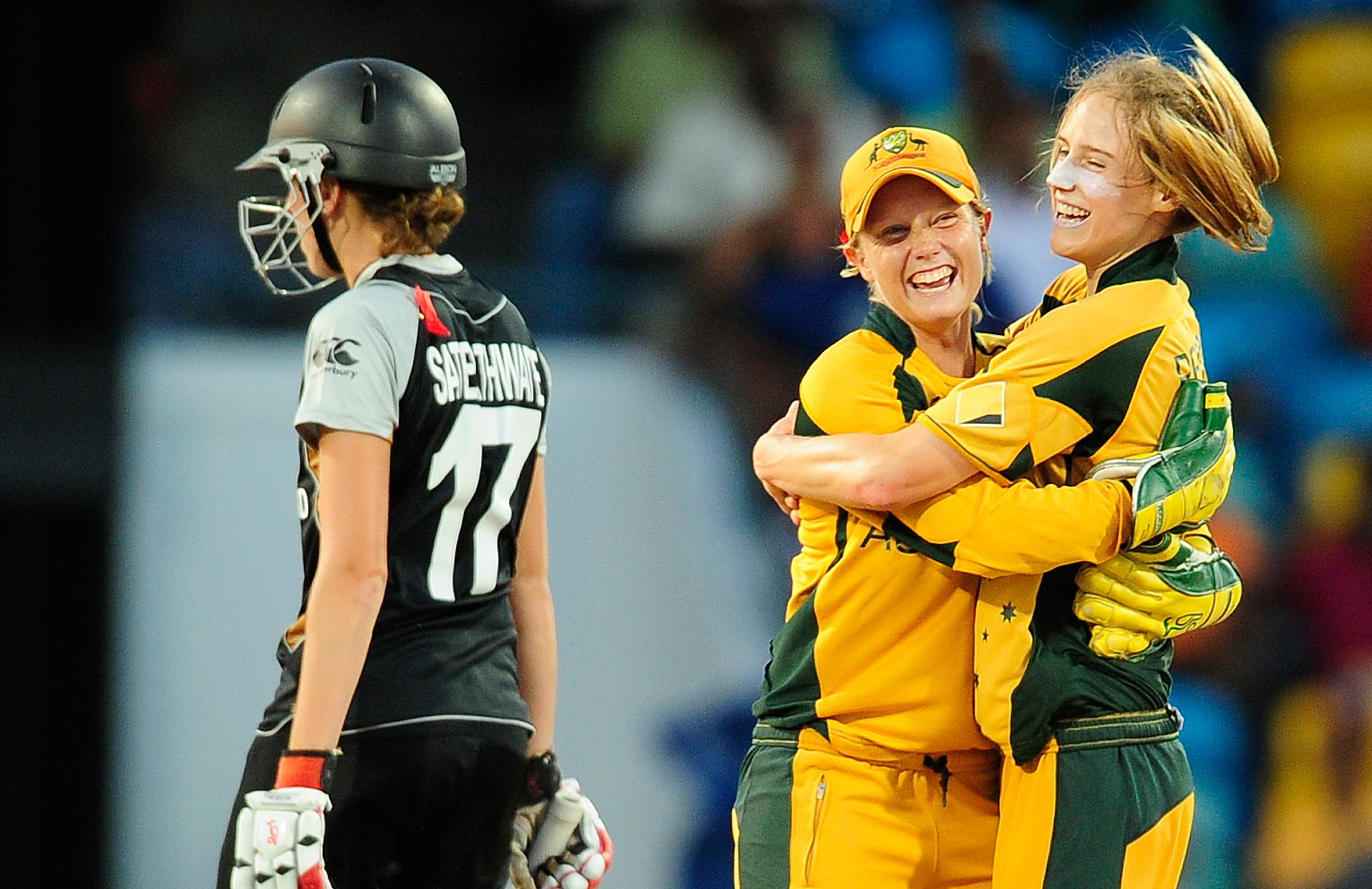 Alyssa Healy and Ellyse Perry celebrate Australia's T20 World Cup win in 2010 // Getty