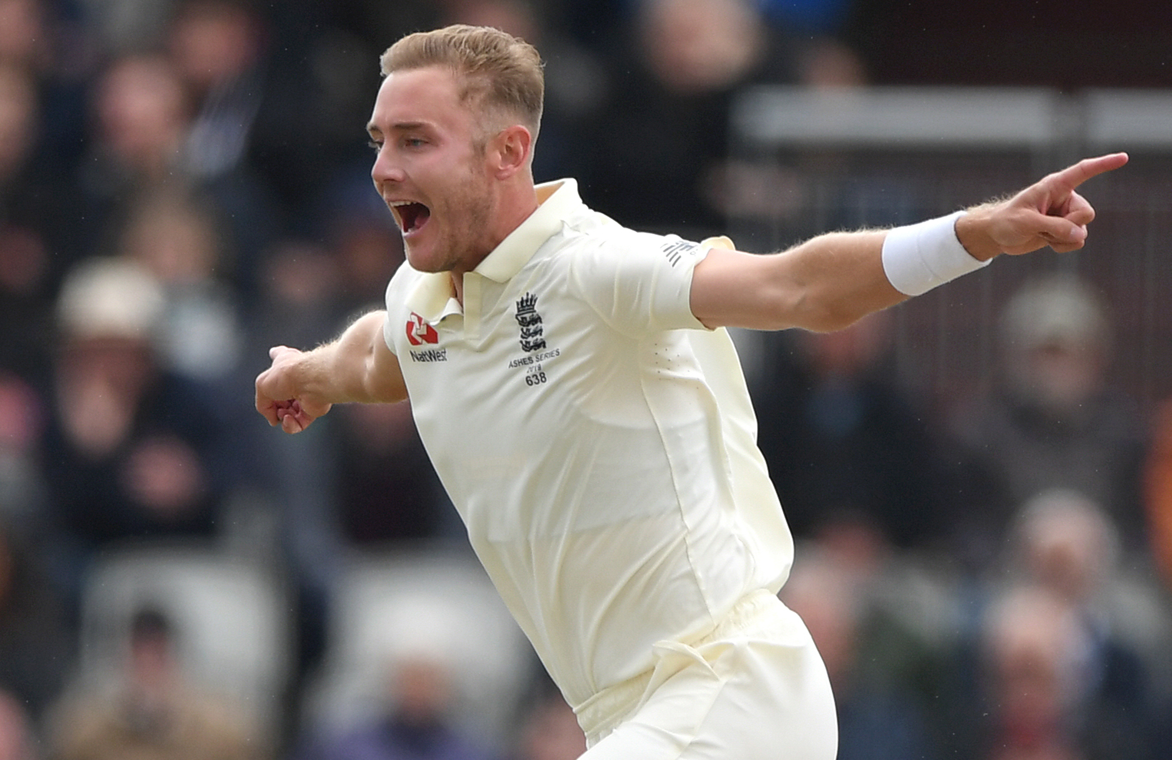 Broad celebrates the wicket of Warner with just the second ball of the Australia innings // Getty