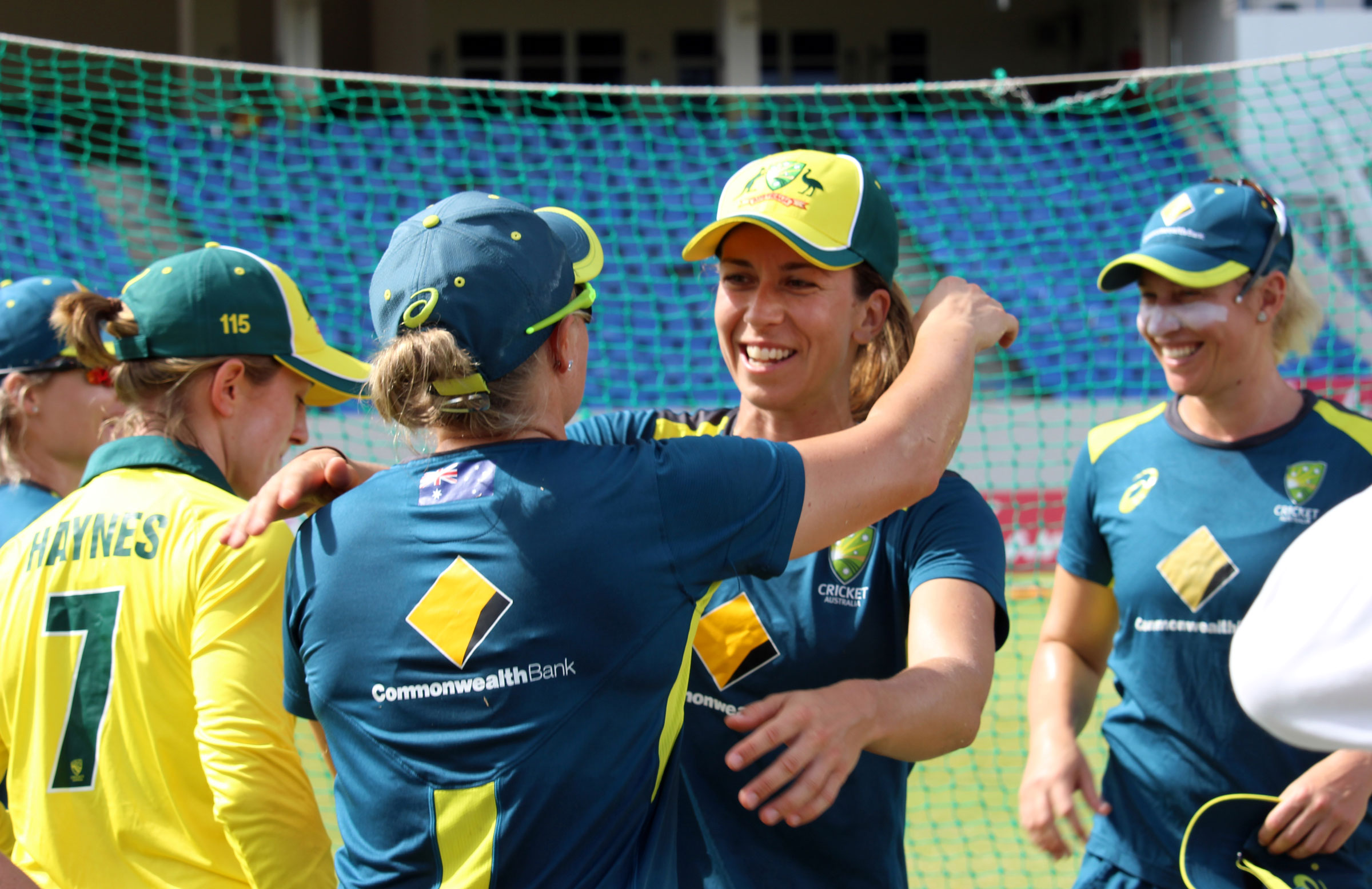 Erin Burns received ODI cap No.141 from Sixers teammate Ellyse Perry // cricket.com.au