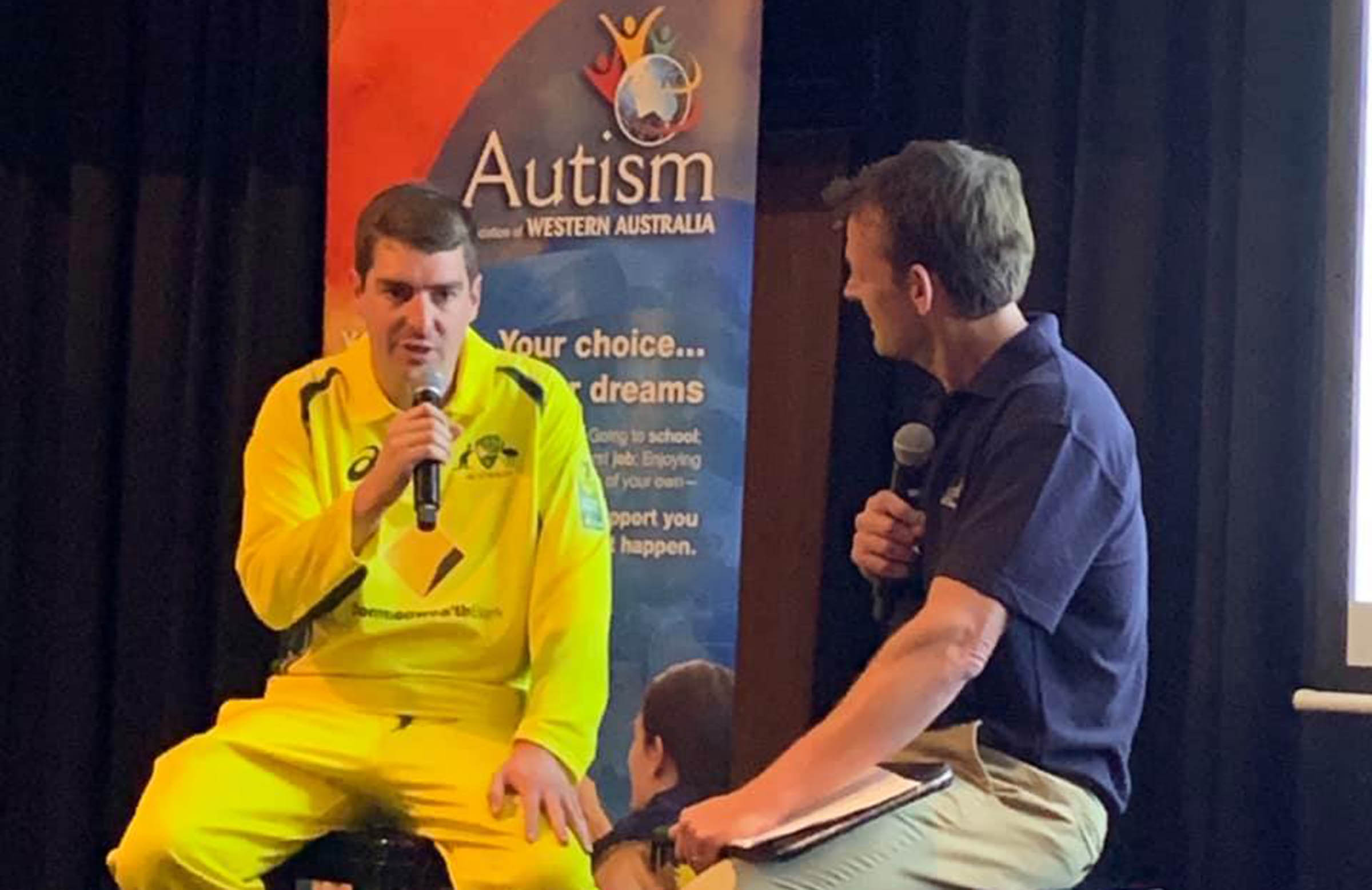 Gilchrist interviews Boyd at an Autism WA and WA Cricket launch